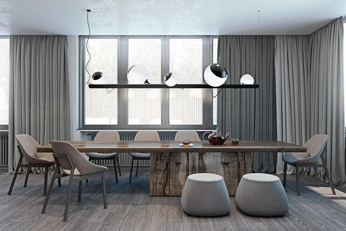 thiết kế nội thất màu xám cho nhà đẹp hiện đại
