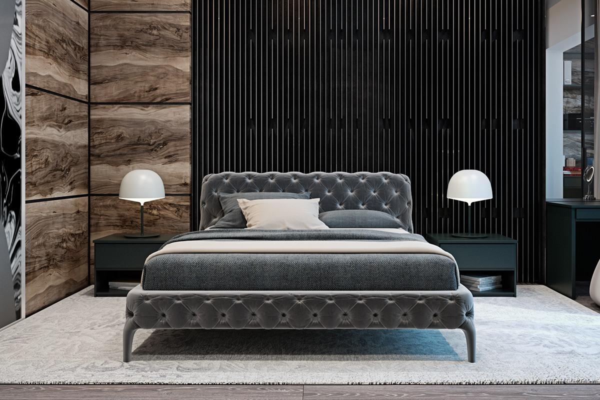 thiết kế nội thất màu xám cho phòng ngủ nhà đẹp hiện đại