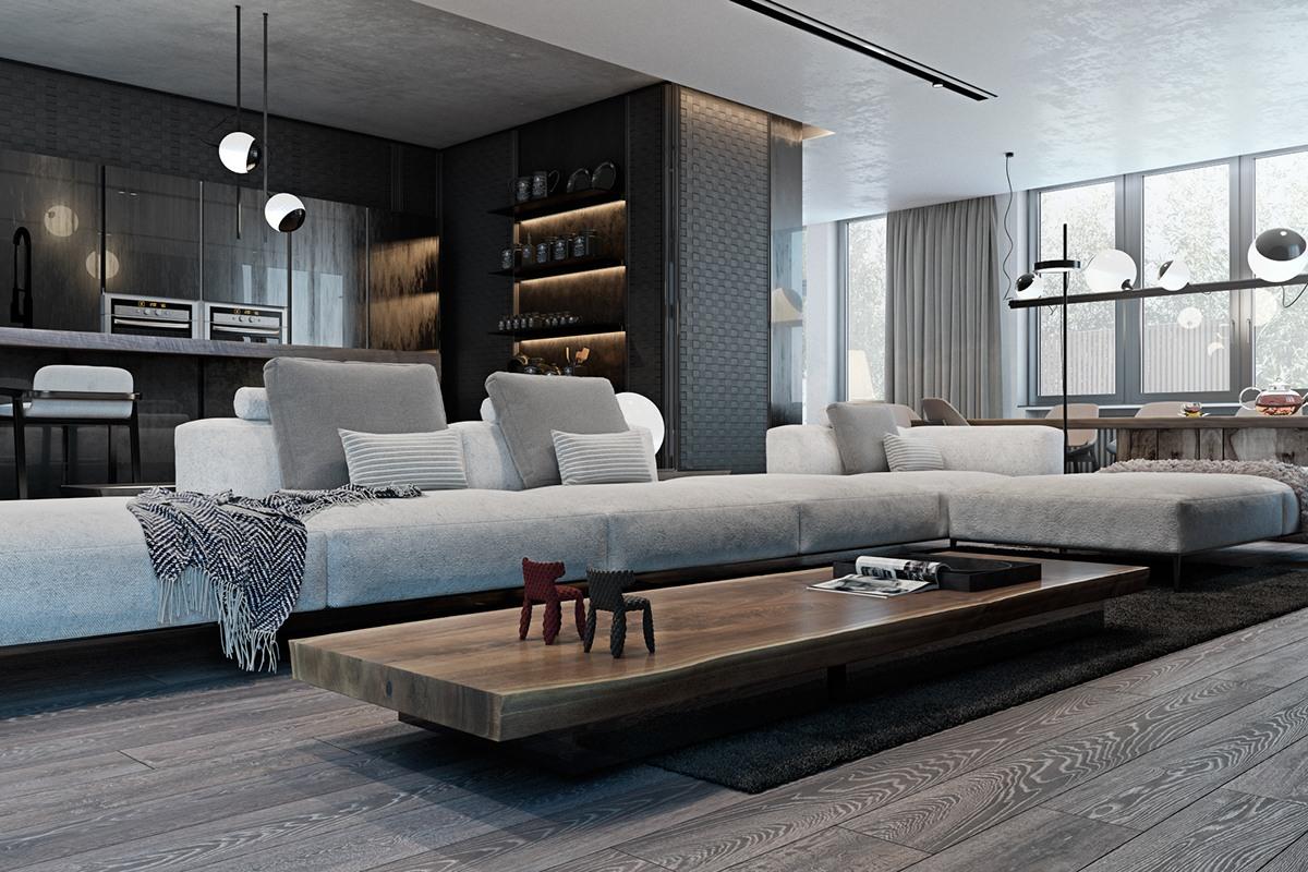 thiết kế nội thất màu xám cho nhà đẹp