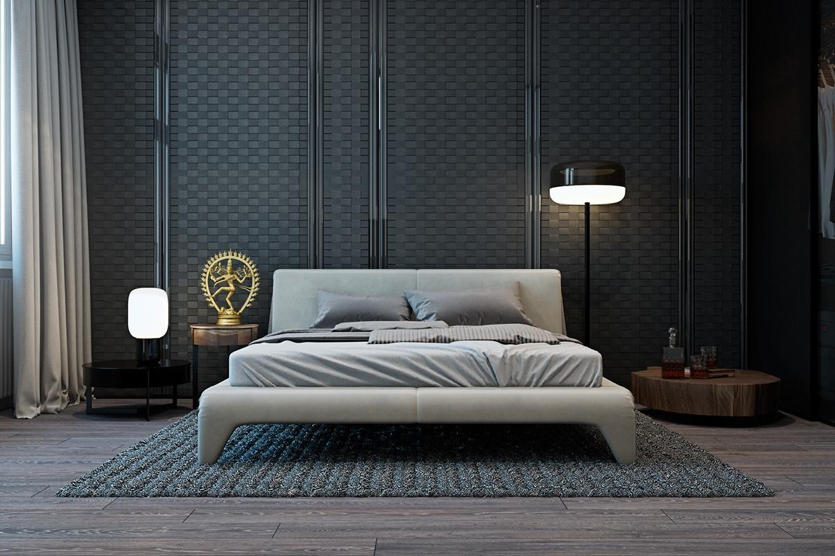 thiết kế nội thất màu xám cho phòng ngủ đẹp