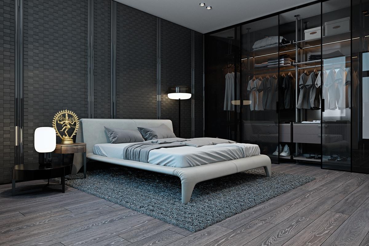 thiết kế nội thất màu xám cho phòng ngủ hiện đại đẹp