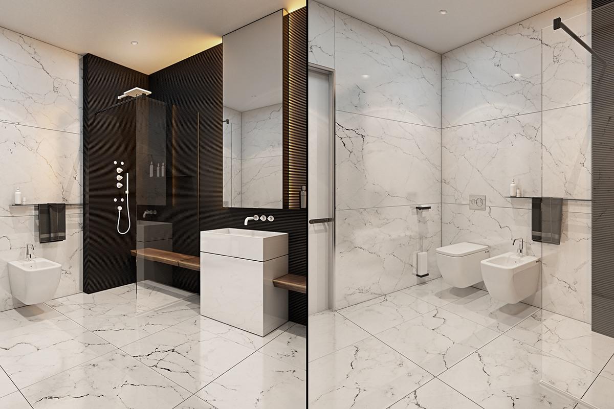 thiết kế nội thất màu xám sang trọng cho phòng tắm đẹp