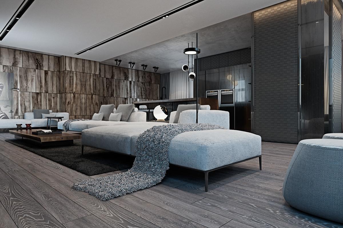 thiết kế nội thất màu xám cho nhà đẹp hiện đại kết hợp truyền thống