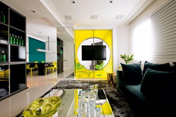 thiết kế nội thất phòng khách sang trọng, hiện đại với màu vàng