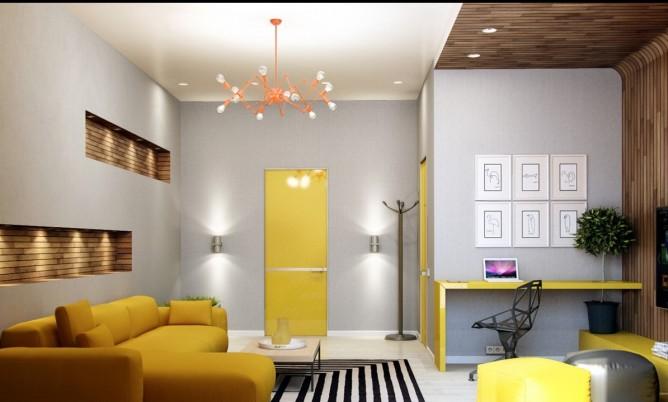 wedo thiết kế nội thất phòng khách hiện đại, sang trọng với màu vàng