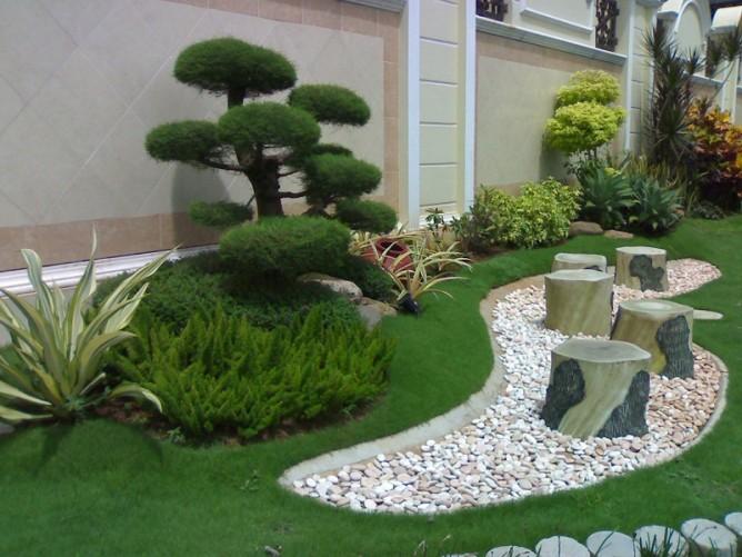 thiết kế tiểu cảnh sân vườn đẹp với đá cuội