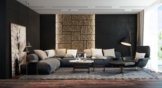 thiết kế nội thất phòng khách hiện đại, sang trọng với màu đen