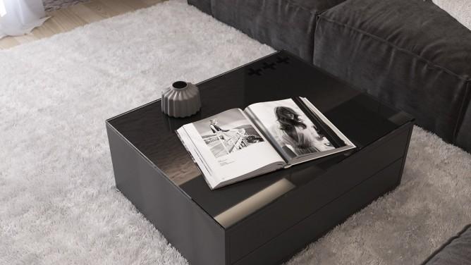 thiết kế nội thất phòng khách đẳng cấp với gam màu đen