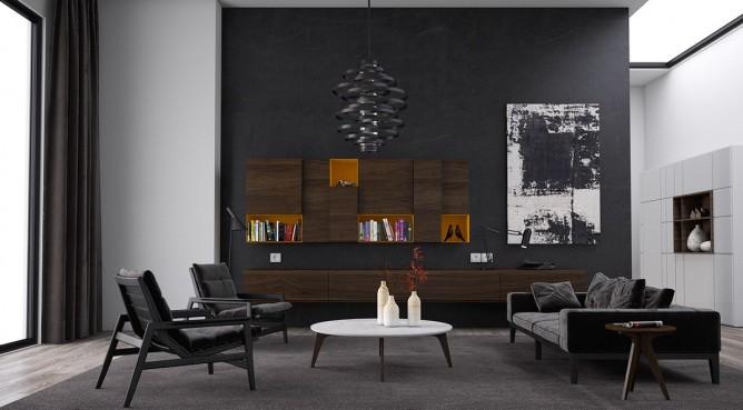 thiết kế nội thất sang trọng, đẳng cấp với gam màu đen