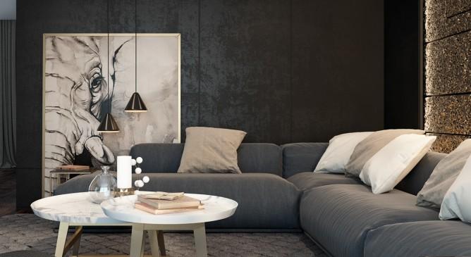 thiết kế nội thất phòng khách sang trọng, đẳng cấp với màu đen