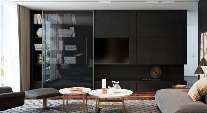 thiết kế nội thất phòng khách đẹp với gam màu đen