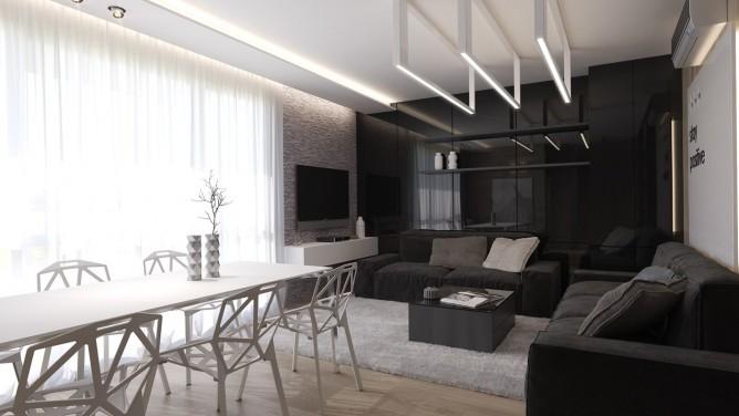 thiết kế nội thất phòng khách sang trọng với gam màu đen