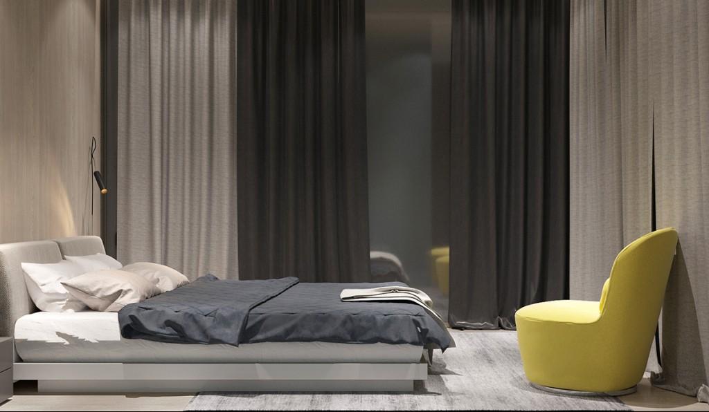 mẫu nội thất phòng ngủ ấn tượng với màu vàng theo cá tính