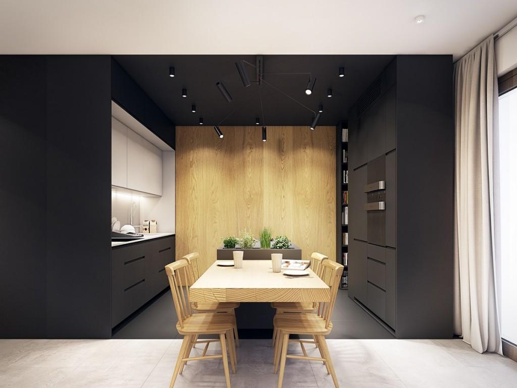 nội thất phòng ăn hiện đại, tươi trẻ với điểm màu xanh ngọc lam