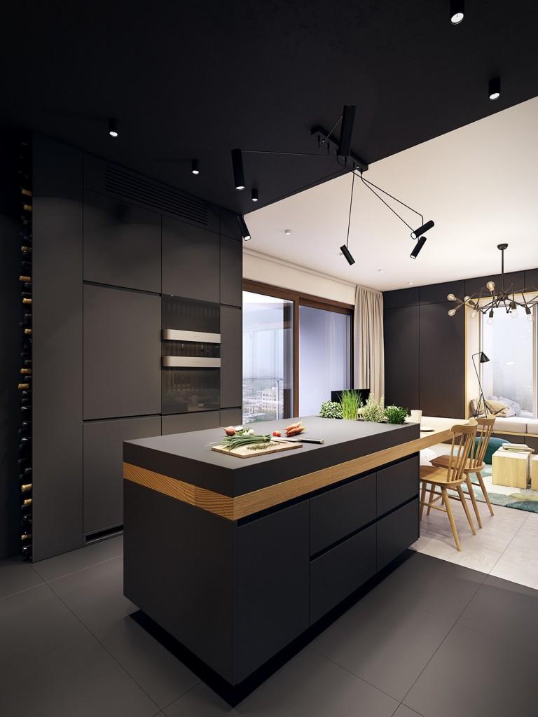 nội thất nhà bếp, phòng ăn hiện đại, tươi trẻ với điểm màu xanh ngọc lam