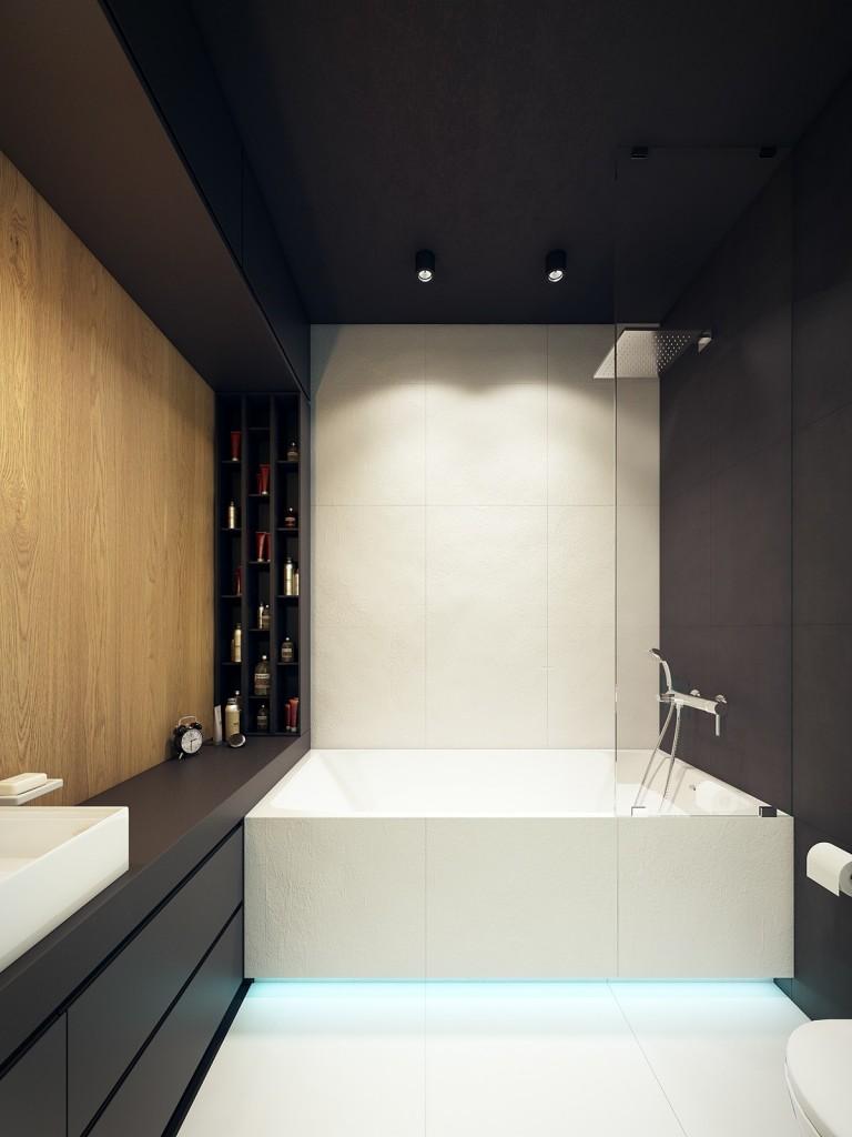 nội thất phòng tắm hiện đại, tươi trẻ với điểm màu xanh ngọc lam