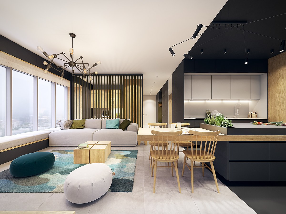 nội thất phòng khách và phòng ăn hiện đại, tươi trẻ với điểm màu xanh ngọc lam