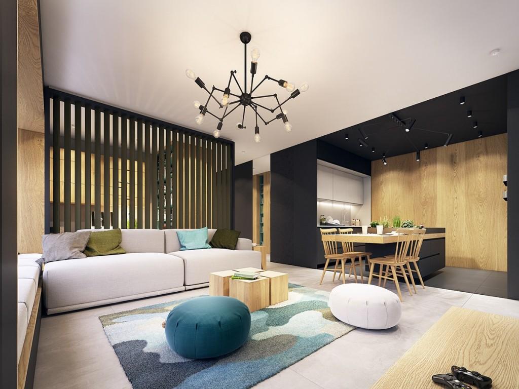nội thất phòng khách hiện đại, tươi trẻ với điểm màu xanh ngọc lam