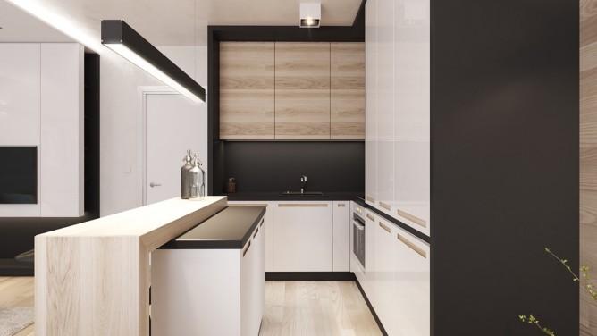 thiết kế nội thất nhà bếp và phòng ăn đẹp, sang trọng với tường gỗ