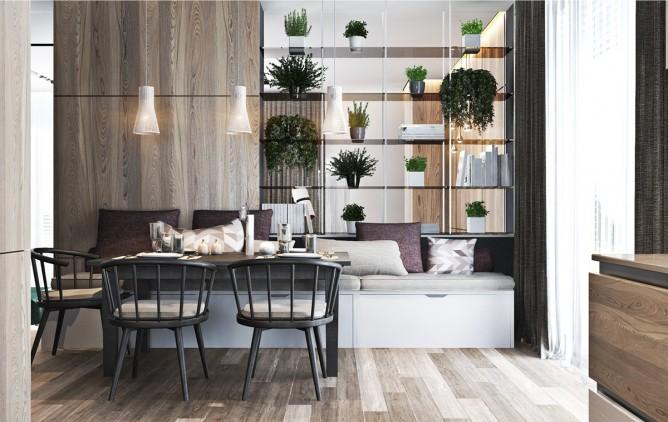 thiết kế nội thất nhà đẹp và sang trọng với tường gỗ