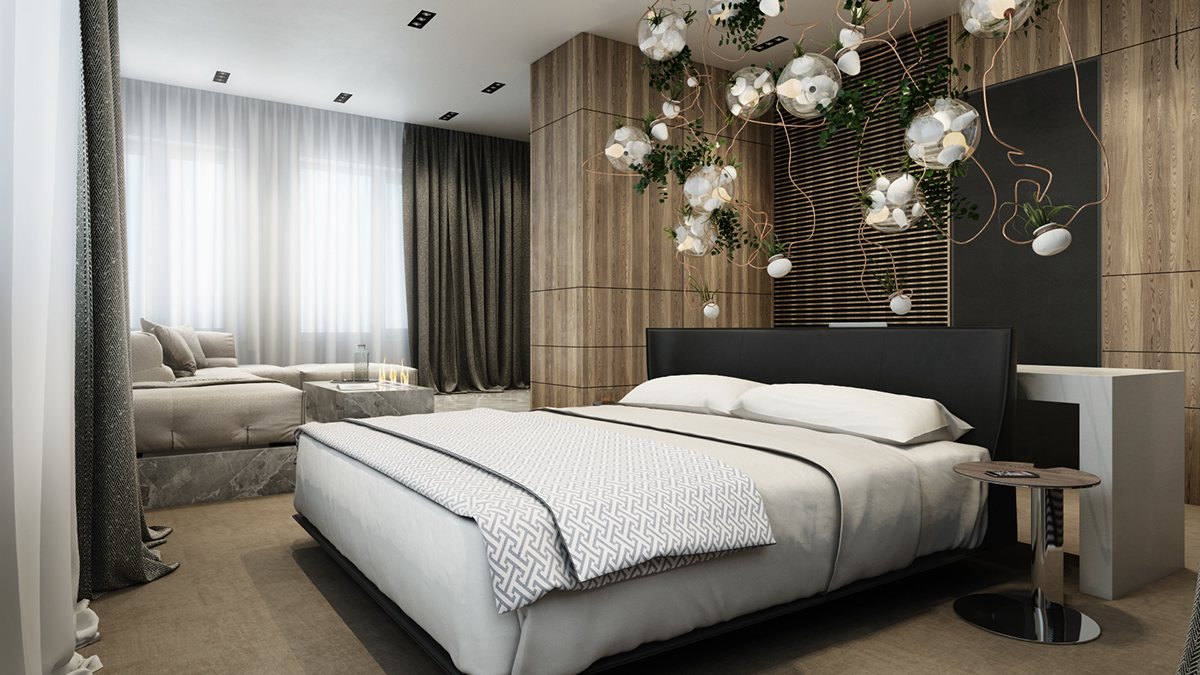 thiết kế nội thất phòng ngủ đẹp và sang trọng, ấm áp với tường gỗ