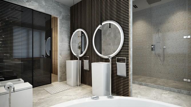 thiết kế nội thất phòng tắm đẹp và sang trọng với tường gỗ