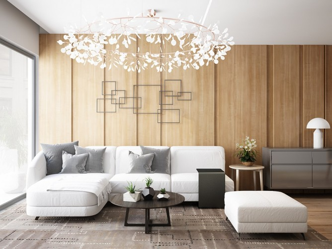 thiết kế nội thất phòng khách đẹp và sang trọng với tường gỗ