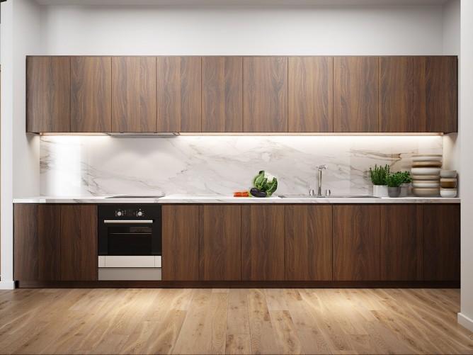 thiết kế nội thất nhà bếp đẹp và sang trọng với tường gỗ