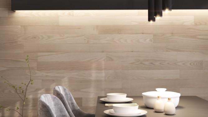 thiết kế nội thất phòng ăn đẹp và sang trọng với tường gỗ