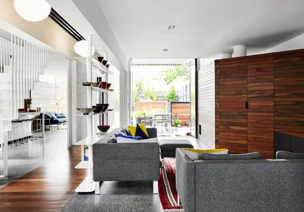thiết kế nội thất phòng khách mở cho không gian kiến trúc nhỏ