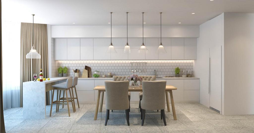 mẫu thiết kế nội thất phòng ăn, nhà bếp nhà đẹp và tiện nghi cho gia đình có 2 con