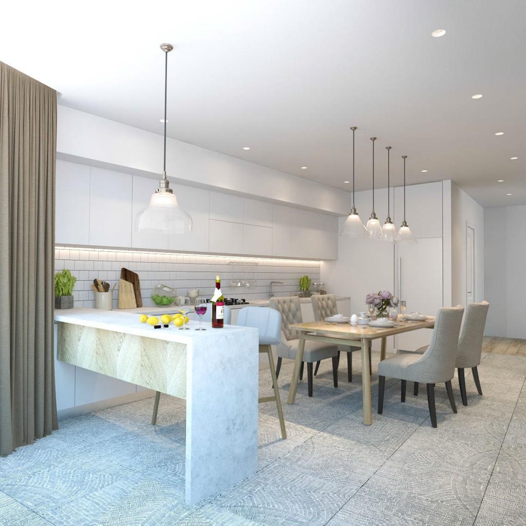 thiết kế nội thất phòng ăn, nhà bếp nhà đẹp và tiện nghi cho gia đình có 2 con