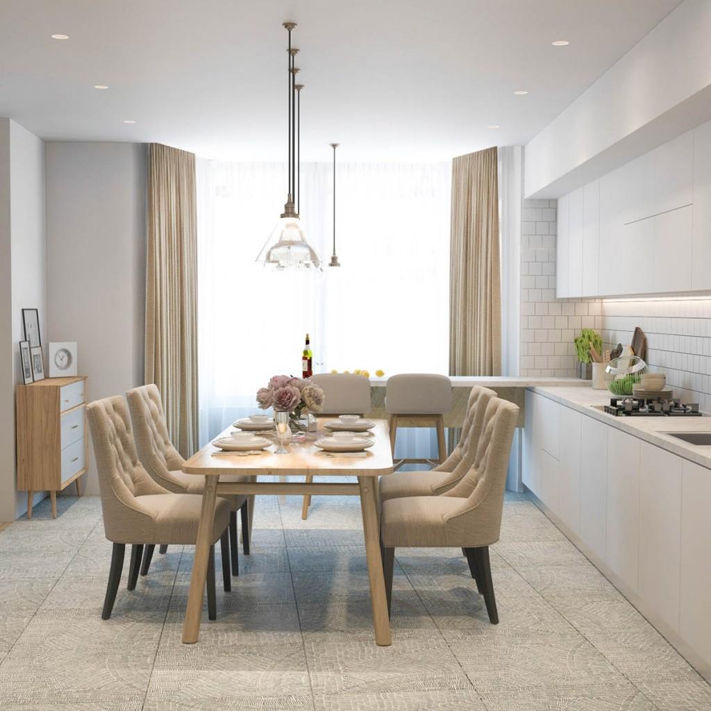 thiết kế nội thất phòng ăn nhà đẹp và tiện nghi cho gia đình có 2 con