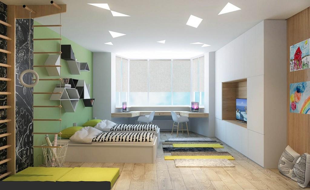 nội thất phòng ngủ trẻ em đẹp, tiện nghi cho gia đình có 2 con