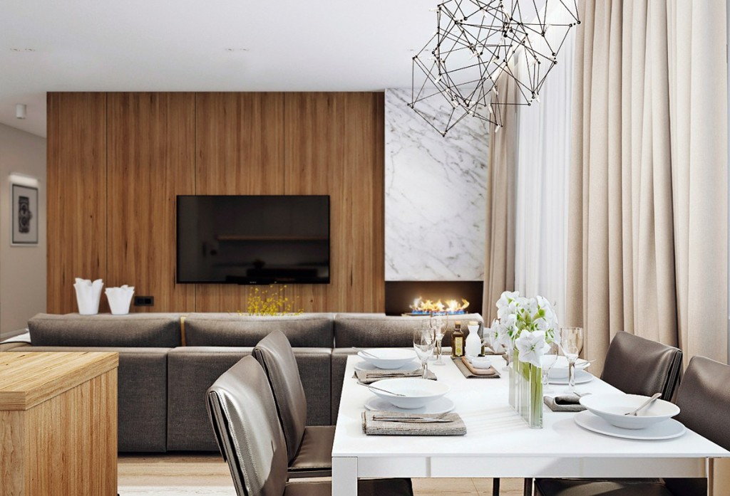 mẫu nội thất phòng khách nhà đẹp và tiện nghi cho gia đình có 2 con