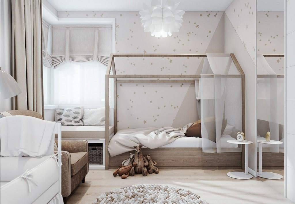 mẫu nội thất nhà đẹp và tiện nghi cho gia đình có 2 con