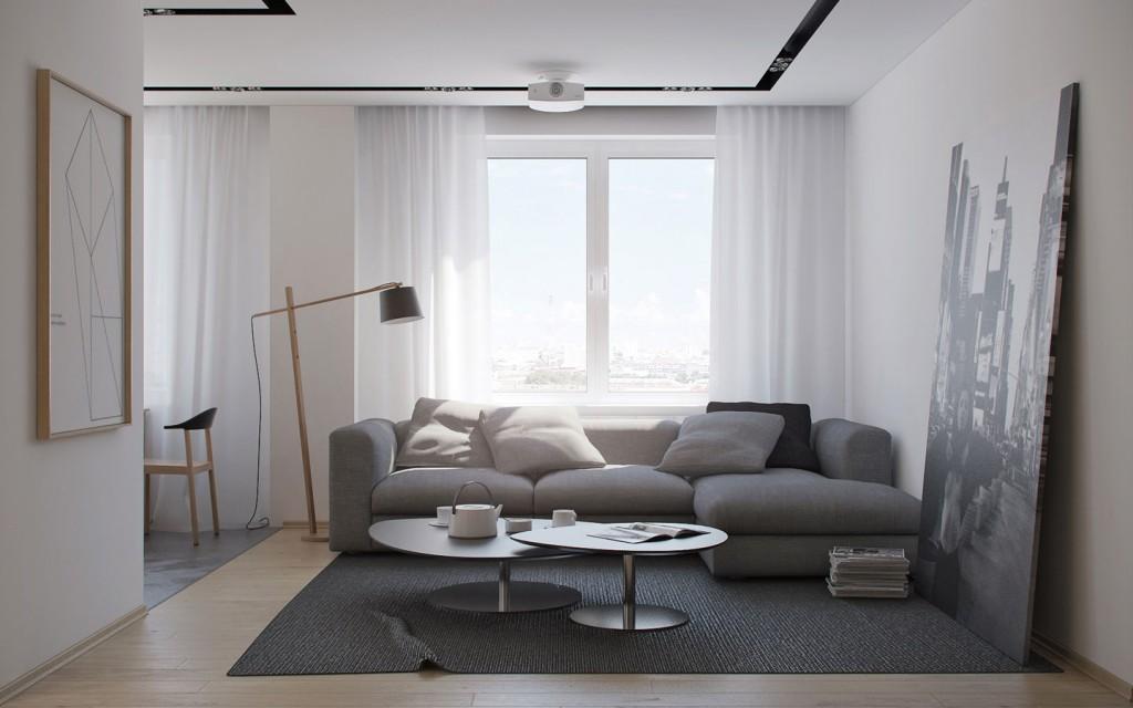 mẫu thiết kế nội thất phòng khách đẹp cho căn hộ 1 phòng ngủ
