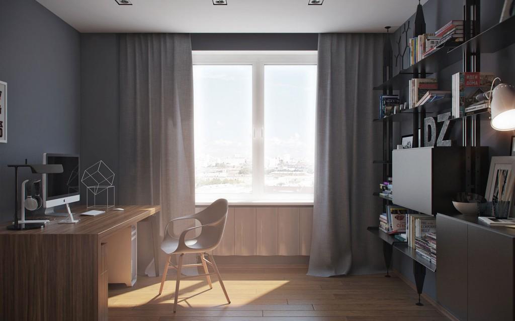 nội thất phòng làm việc đẹp cho căn hộ 1 phòng ngủ