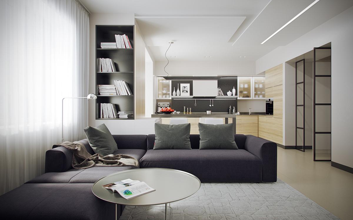 mẫu thiết kế nội thất phòng khách đẹp cho căn hộ 1 phòng ngủ đẹp