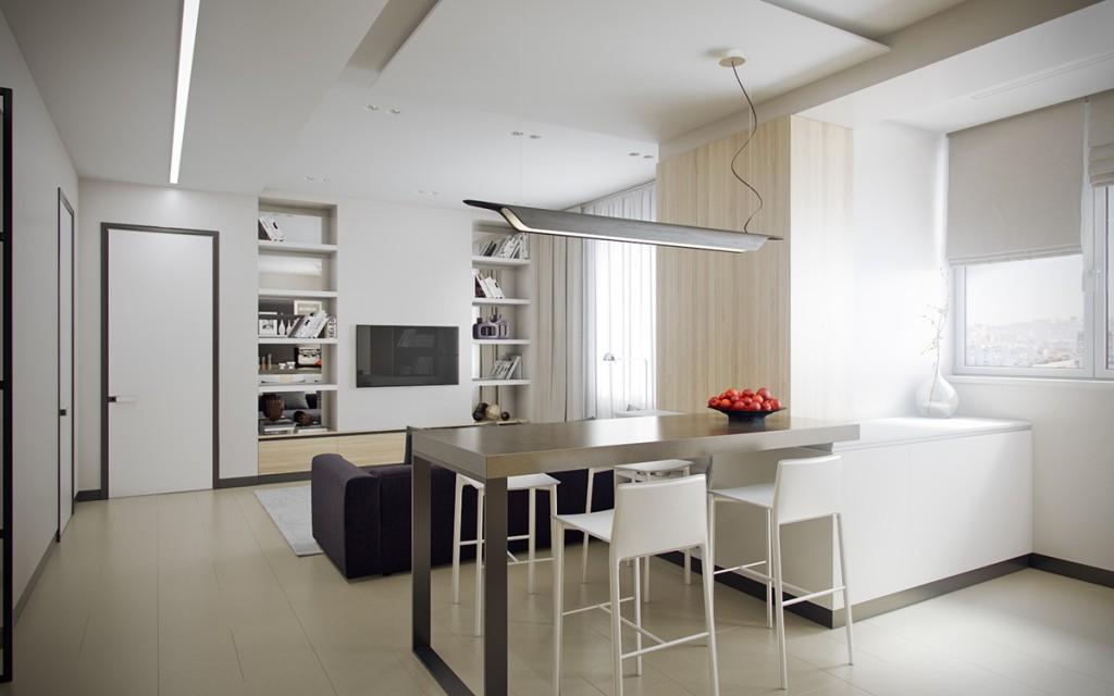 mẫu thiết kế nội thất đẹp cho căn hộ 1 phòng ngủ đẹp
