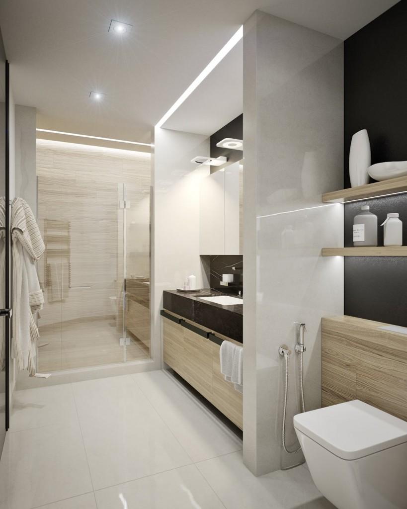 mẫu nội thất phòng tắm đẹp cho căn hộ 1 phòng ngủ