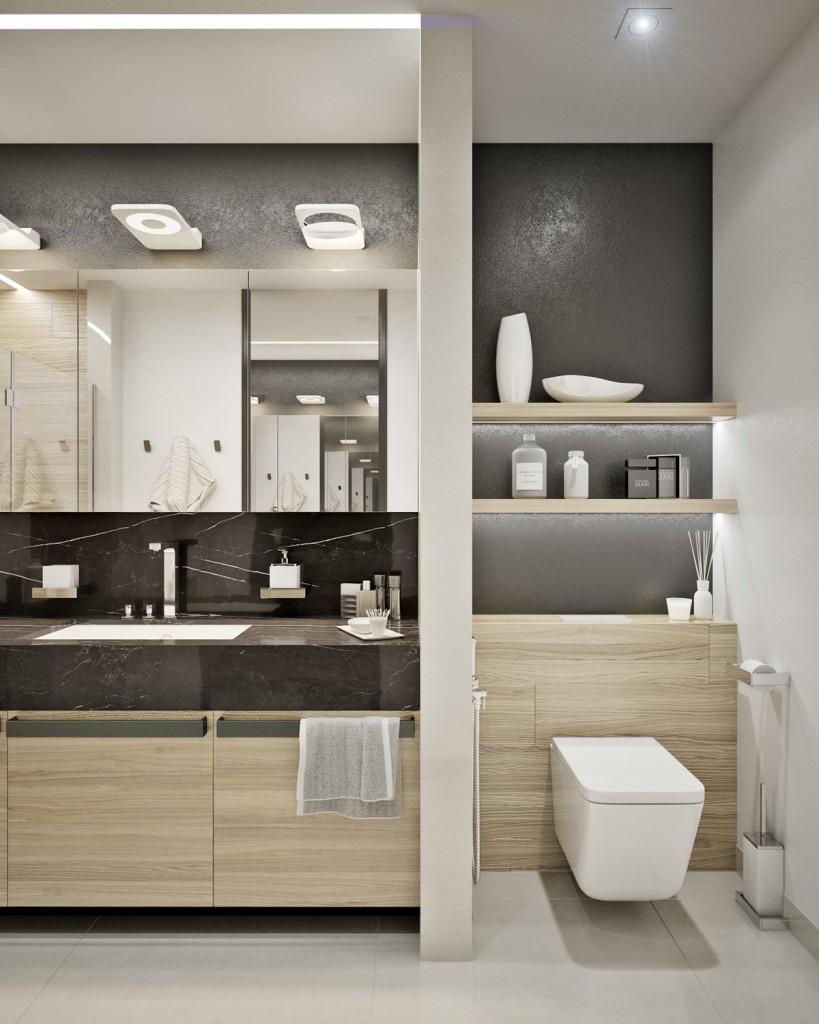 tư vấn thiết kế nội thất phòng tắm đẹp cho căn hộ 1 phòng ngủ