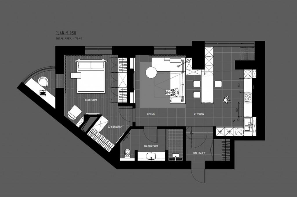 bản vẽ thiết kế nội thất căn hộ 1 phòng ngủ đẹp