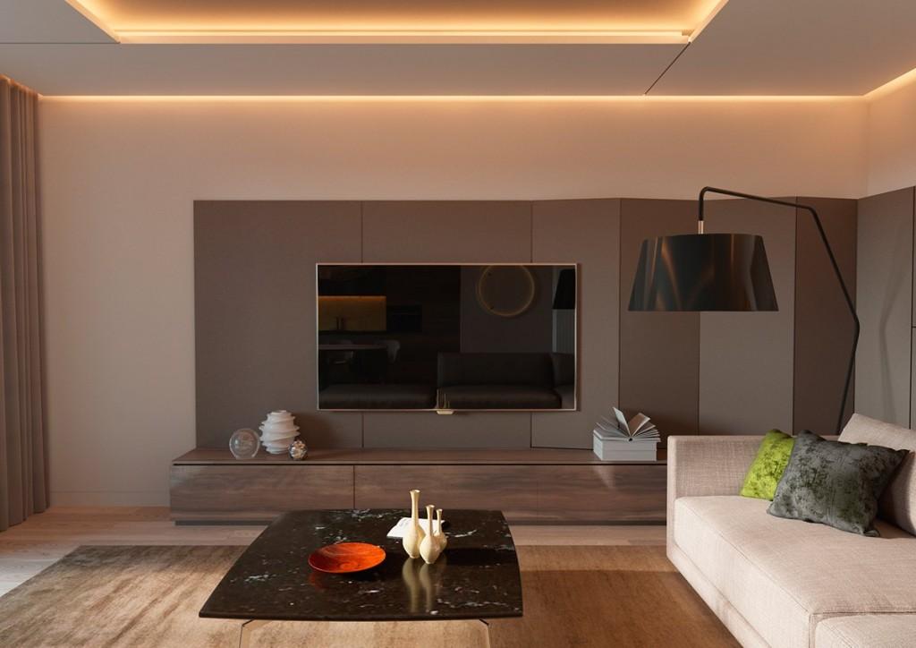 thiết kế nội thất phòng khách đẹp và tiện nghi cho căn hộ 1 phòng ngủ