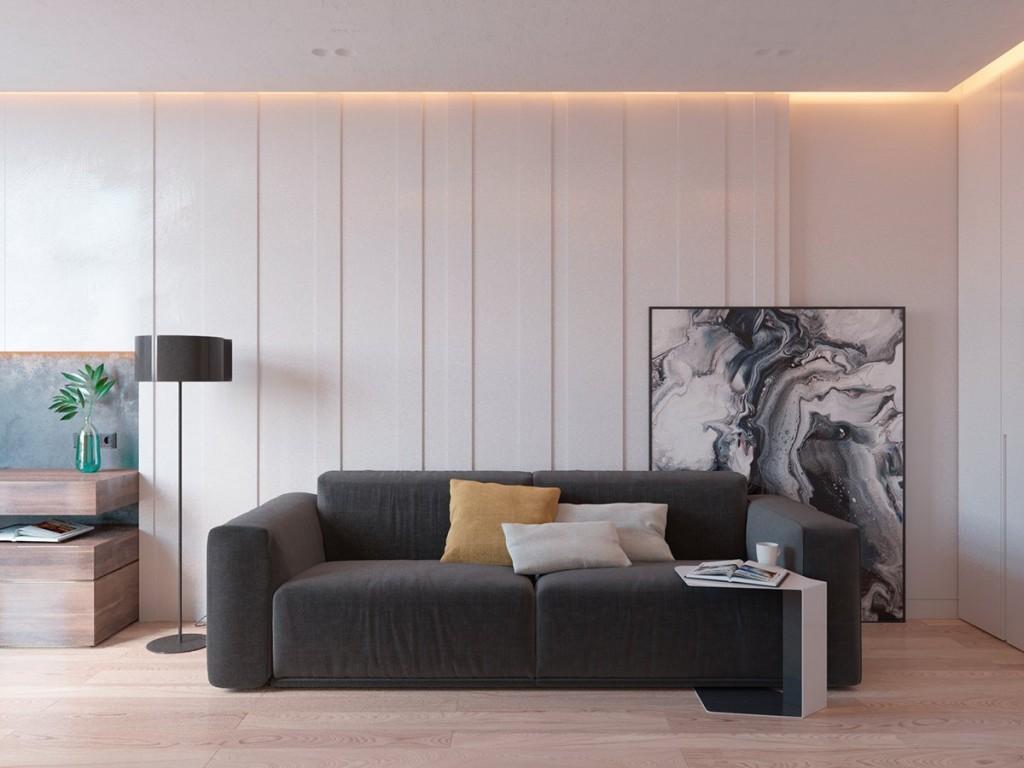 mẫu nội thất phòng khách đẹp và tiện nghi cho căn hộ 1 phòng ngủ