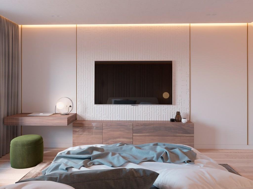thiết kế nội thất phòng ngủ đẹp và tiện nghi cho căn hộ 1 phòng ngủ