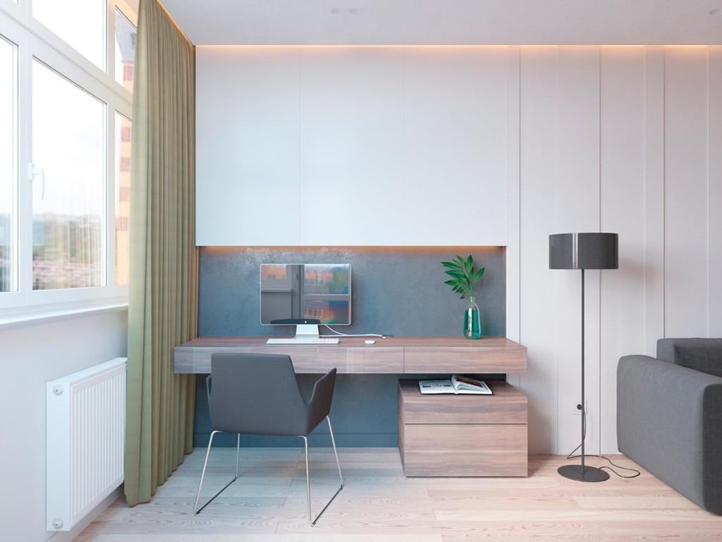 thiết kế nội thất phòng làm việc đẹp và tiện nghi cho căn hộ 1 phòng ngủ