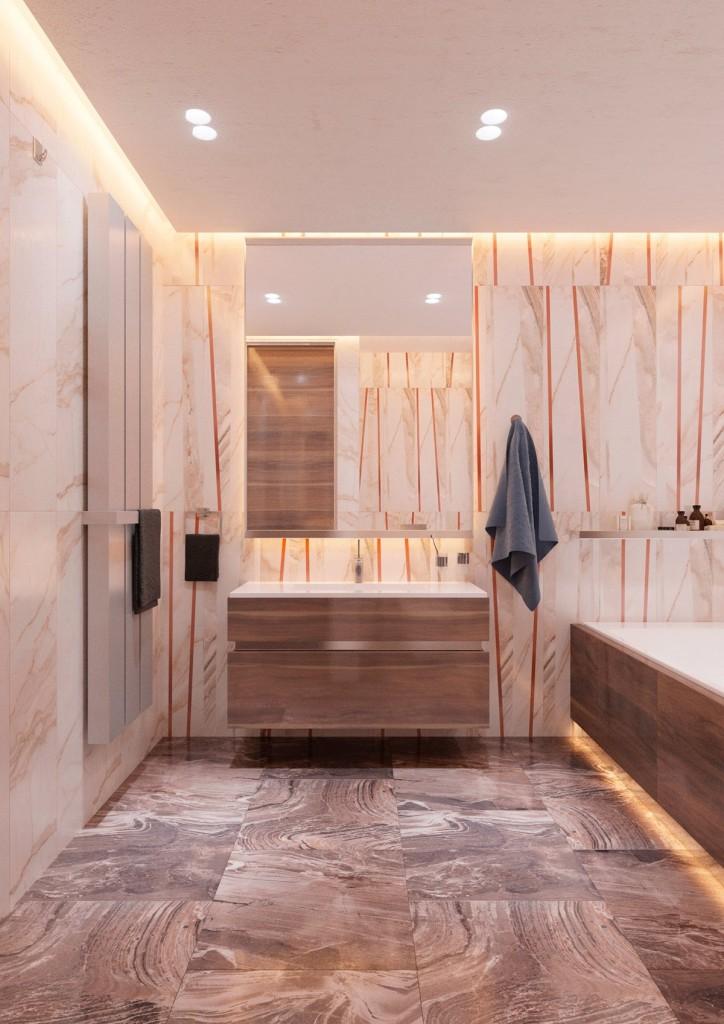 thiết kế nội thất phòng tắm đẹp và tiện nghi cho căn hộ 1 phòng ngủ