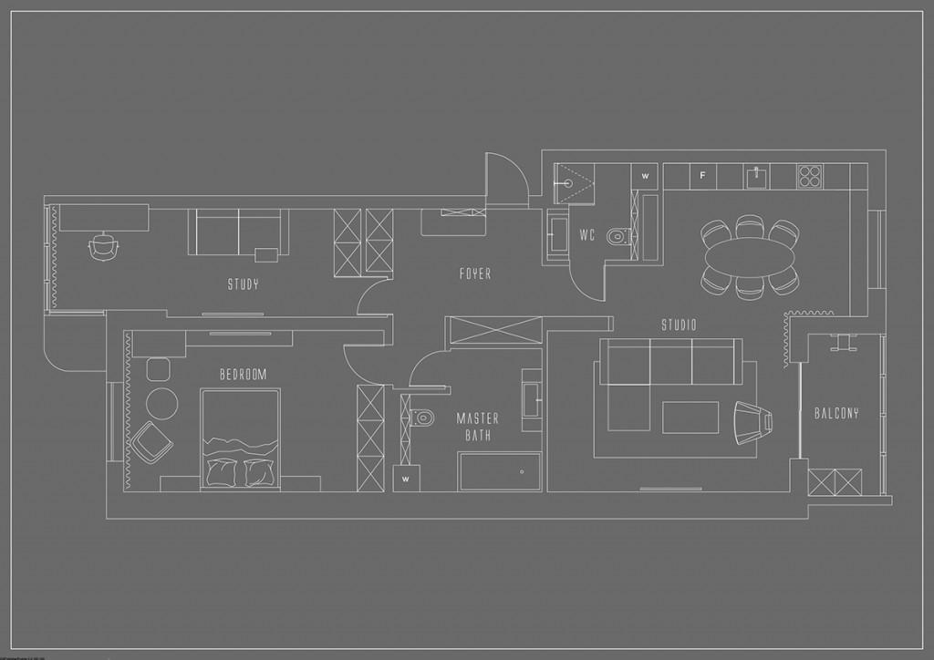 bản vẽ thiết kế nội thất cho căn hộ 1 phòng ngủ