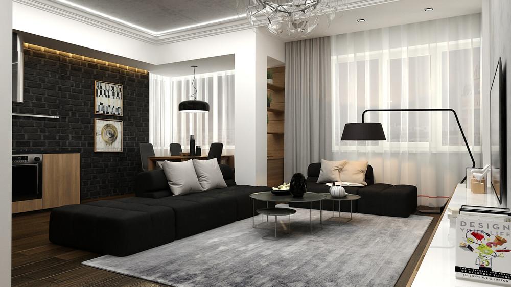 mẫu thiết kế nội thất phòng khách đẹp lung linh cho căn hộ 1 phòng ngủ